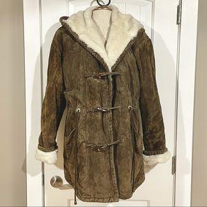 DANIEL HECHTER Leather Faux Fur Lined Parka Coat